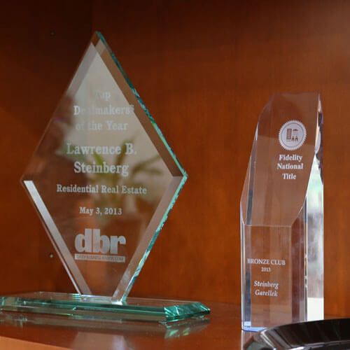 An image of awards bestowed upon law firm Steinberg Garellek of Boca Raton.